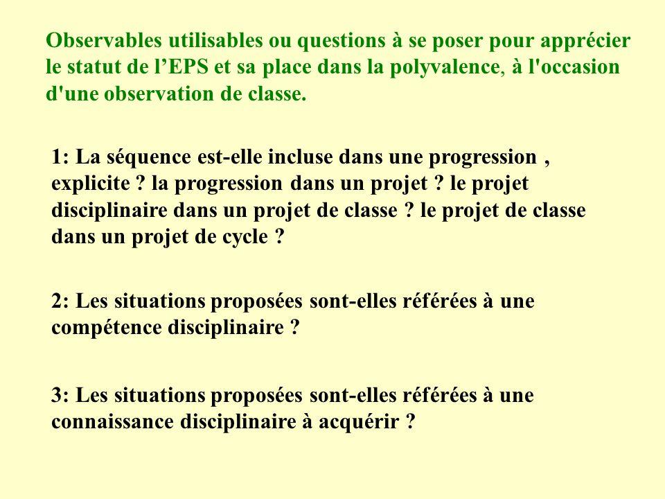 Observables utilisables ou questions à se poser pour apprécier le statut de lEPS et sa place dans la polyvalence, à l occasion d une observation de classe.