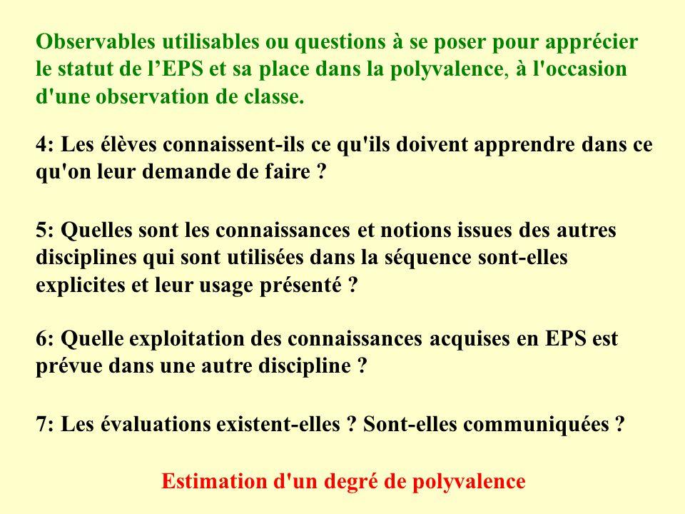 Observables utilisables ou questions à se poser pour apprécier le statut de lEPS et sa place dans la polyvalence, à l'occasion d'une observation de cl