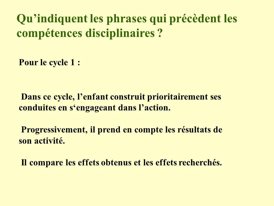 Quindiquent les phrases qui précèdent les compétences disciplinaires ? Pour le cycle 1 : Dans ce cycle, lenfant construit prioritairement ses conduite