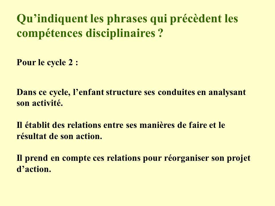Quindiquent les phrases qui précèdent les compétences disciplinaires ? Pour le cycle 2 : Dans ce cycle, lenfant structure ses conduites en analysant s