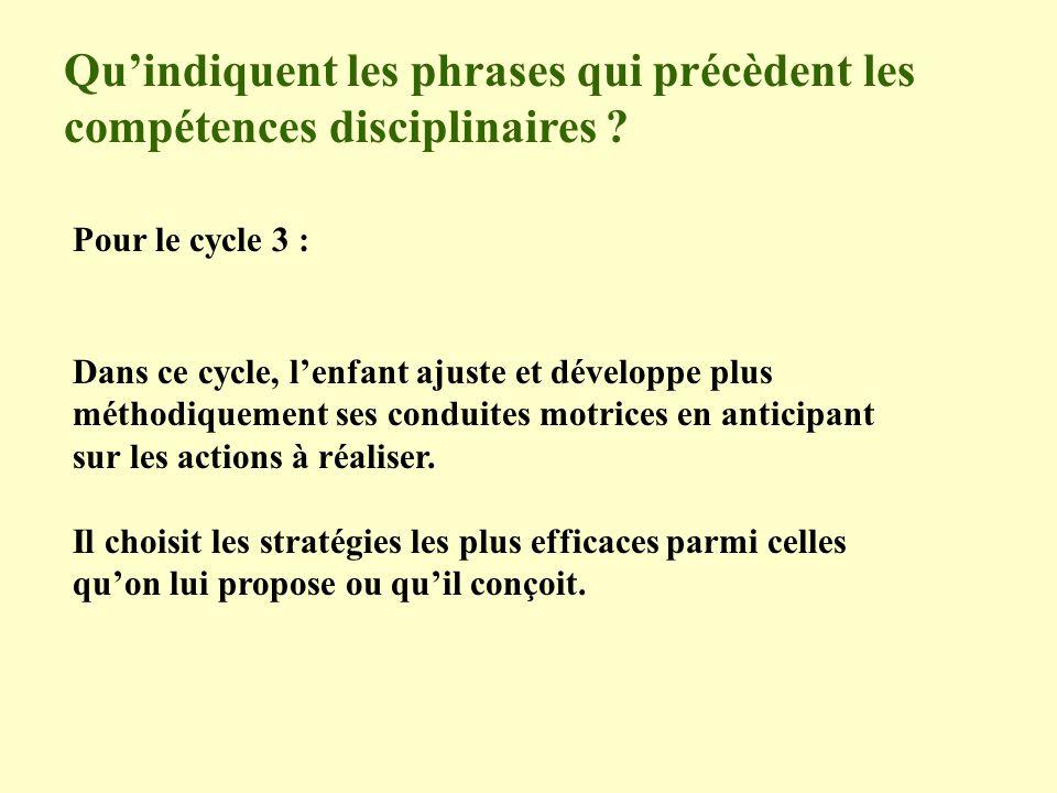 Quindiquent les phrases qui précèdent les compétences disciplinaires ? Pour le cycle 3 : Dans ce cycle, lenfant ajuste et développe plus méthodiquemen