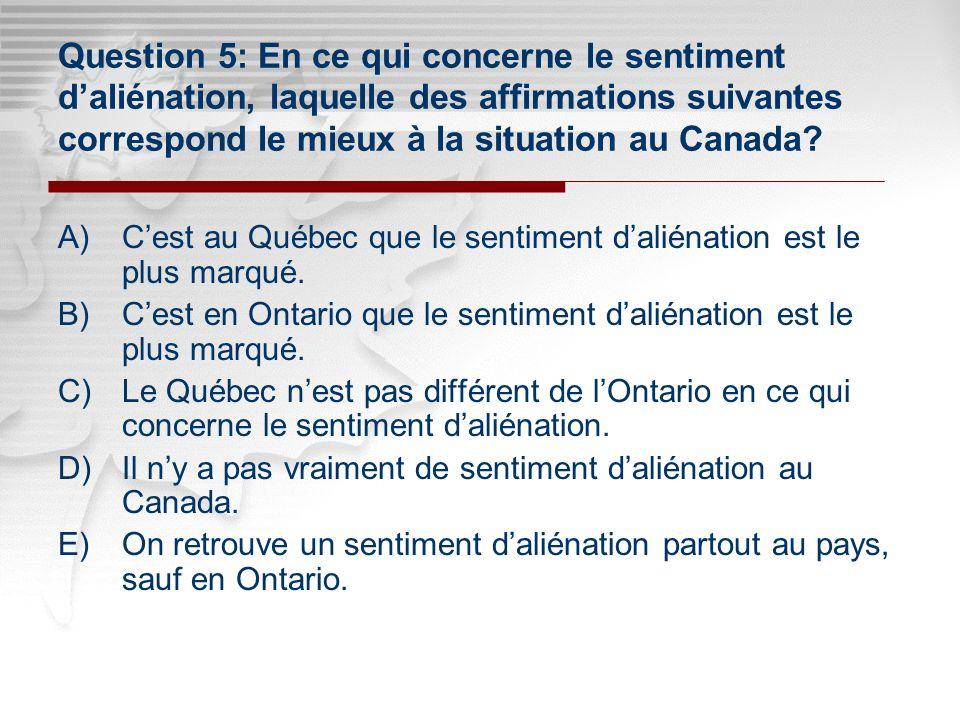 Click to edit Master subtitle style Click to edit Master title style Question 5: En ce qui concerne le sentiment daliénation, laquelle des affirmations suivantes correspond le mieux à la situation au Canada.