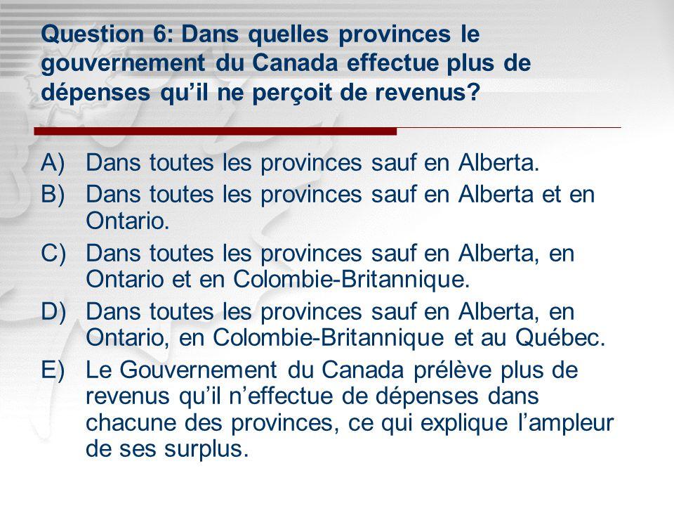 Click to edit Master subtitle style Click to edit Master title style Question 6: Dans quelles provinces le gouvernement du Canada effectue plus de dépenses quil ne perçoit de revenus.
