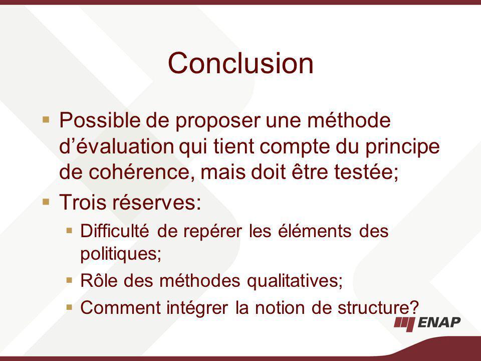 Conclusion Possible de proposer une méthode dévaluation qui tient compte du principe de cohérence, mais doit être testée; Trois réserves: Difficulté de repérer les éléments des politiques; Rôle des méthodes qualitatives; Comment intégrer la notion de structure?