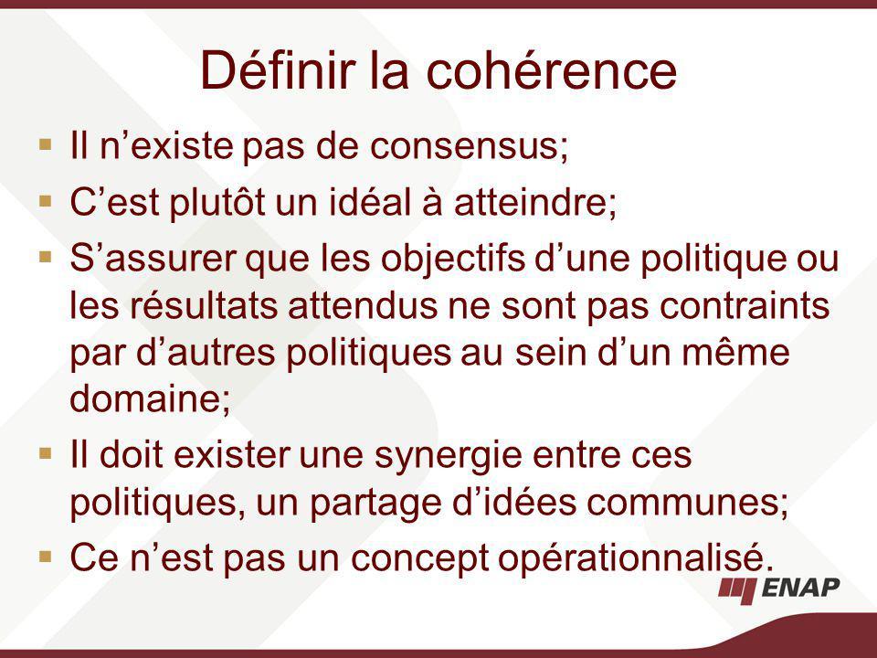 Définir la cohérence Il nexiste pas de consensus; Cest plutôt un idéal à atteindre; Sassurer que les objectifs dune politique ou les résultats attendus ne sont pas contraints par dautres politiques au sein dun même domaine; Il doit exister une synergie entre ces politiques, un partage didées communes; Ce nest pas un concept opérationnalisé.