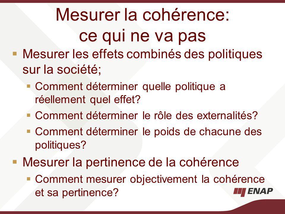 Mesurer la cohérence: ce qui ne va pas Mesurer les effets combinés des politiques sur la société; Comment déterminer quelle politique a réellement quel effet.