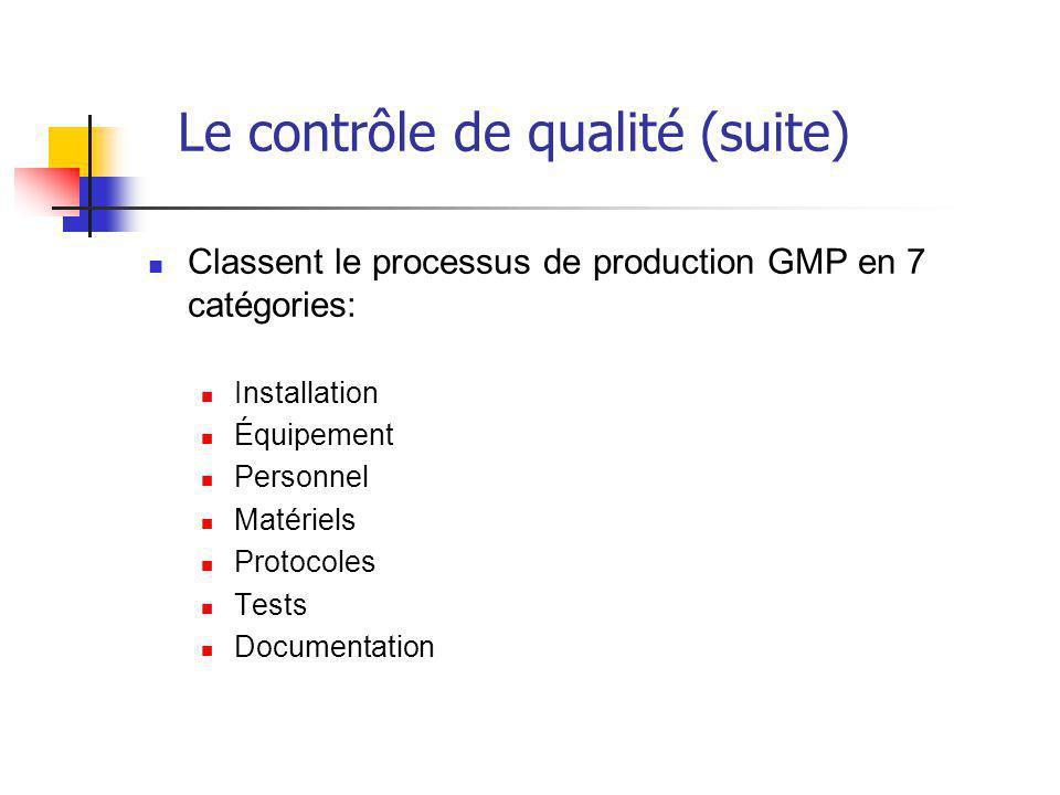 Le contrôle de qualité (suite) Classent le processus de production GMP en 7 catégories: Installation Équipement Personnel Matériels Protocoles Tests Documentation