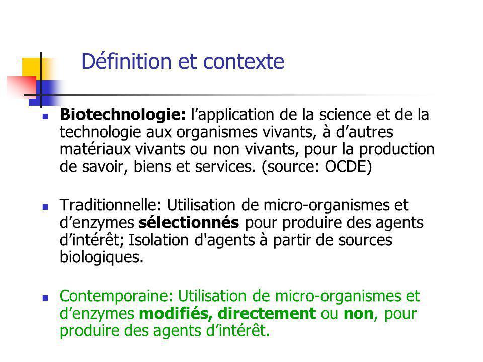 Définition et contexte Biotechnologie: lapplication de la science et de la technologie aux organismes vivants, à dautres matériaux vivants ou non vivants, pour la production de savoir, biens et services.