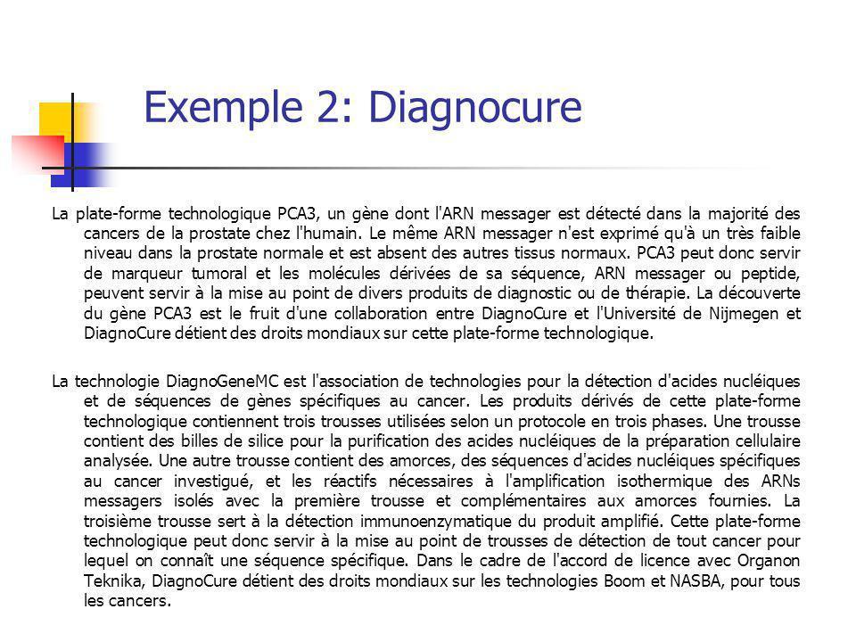 Exemple 2: Diagnocure La plate-forme technologique PCA3, un gène dont l ARN messager est détecté dans la majorité des cancers de la prostate chez l humain.