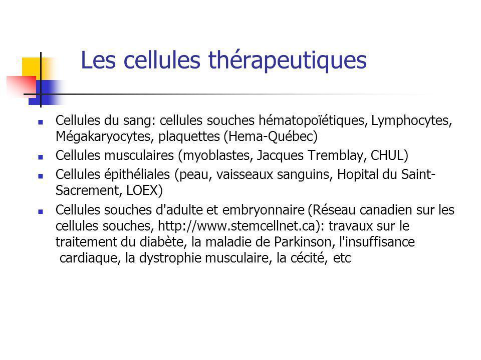 Les cellules thérapeutiques Cellules du sang: cellules souches hématopoïétiques, Lymphocytes, Mégakaryocytes, plaquettes (Hema-Québec) Cellules musculaires (myoblastes, Jacques Tremblay, CHUL) Cellules épithéliales (peau, vaisseaux sanguins, Hopital du Saint- Sacrement, LOEX) Cellules souches d adulte et embryonnaire (Réseau canadien sur les cellules souches, http://www.stemcellnet.ca): travaux sur le traitement du diabète, la maladie de Parkinson, l insuffisance cardiaque, la dystrophie musculaire, la cécité, etc