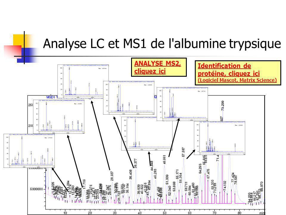Analyse LC et MS1 de l albumine trypsique ANALYSE MS2, cliquez ici Identification de protéine, cliquez ici (Logiciel Mascot, Matrix Science)