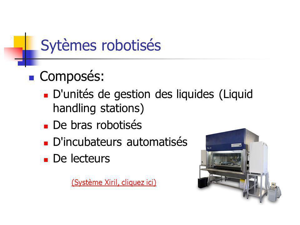 Sytèmes robotisés Composés: D unités de gestion des liquides (Liquid handling stations) De bras robotisés D incubateurs automatisés De lecteurs (Système Xiril, cliquez ici)
