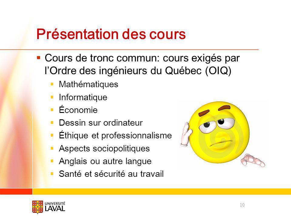 Présentation des cours Cours de tronc commun: cours exigés par lOrdre des ingénieurs du Québec (OIQ) Mathématiques Informatique Économie Dessin sur or