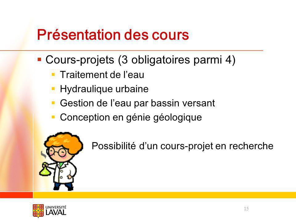 Présentation des cours Cours-projets (3 obligatoires parmi 4) Traitement de leau Hydraulique urbaine Gestion de leau par bassin versant Conception en