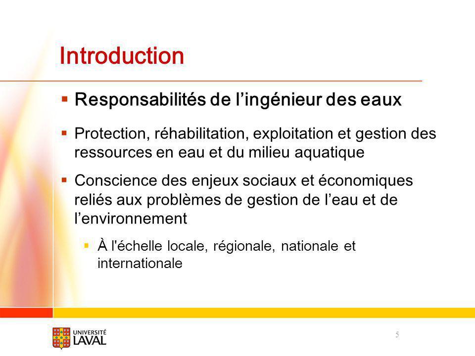Introduction Responsabilités de lingénieur des eaux Protection, réhabilitation, exploitation et gestion des ressources en eau et du milieu aquatique C