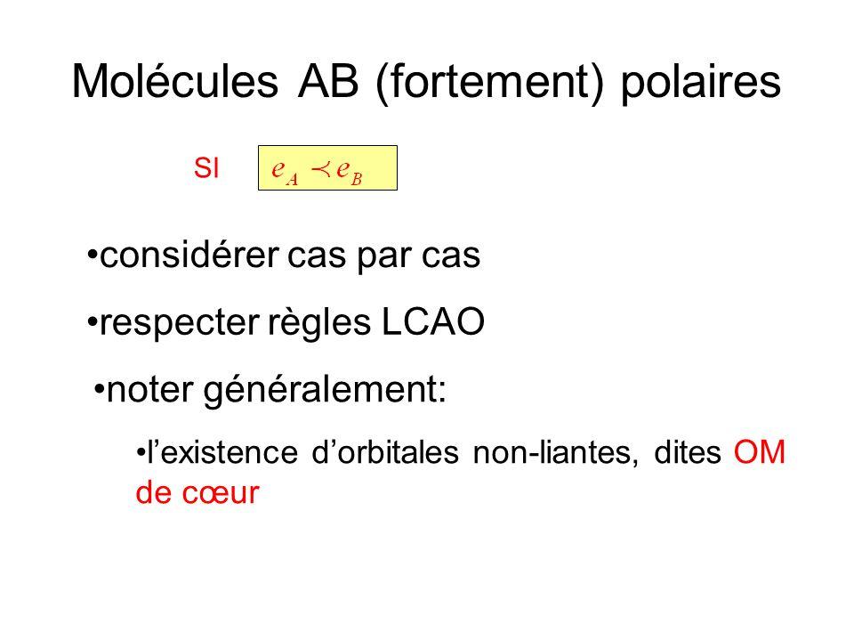 Molécules AB (fortement) polaires SI considérer cas par cas respecter règles LCAO noter généralement: lexistence dorbitales non-liantes, dites OM de c