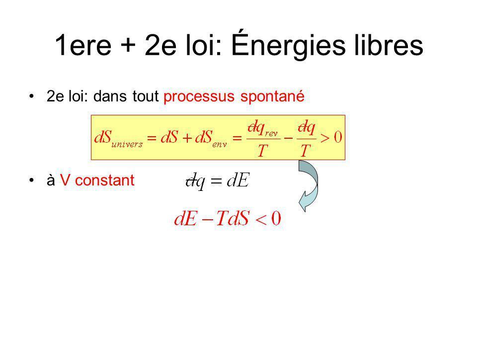 1ere + 2e loi: Énergies libres 2e loi: dans tout processus spontané à V constant Énergie libre de Helmholtz