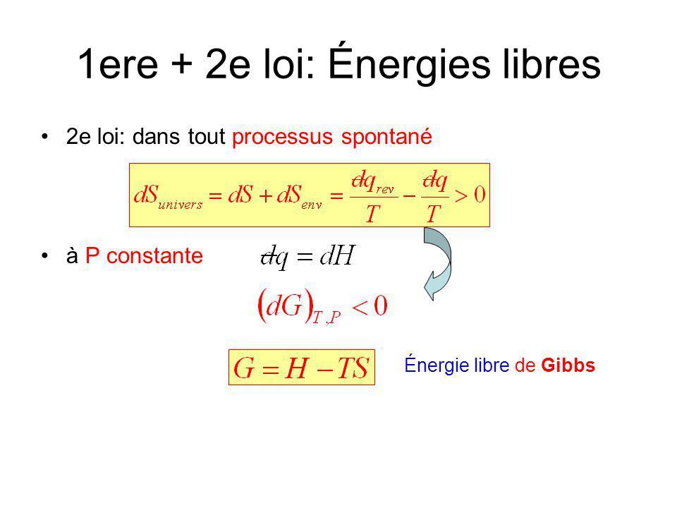 1ere + 2e loi: Énergies libres 2e loi: dans tout processus spontané à P constante Énergie libre de Gibbs (Enthalpie libre)