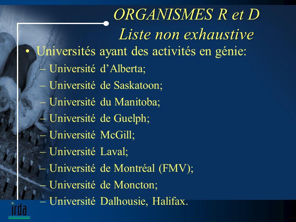 ORGANISMES R et D Liste non exhaustive Universités ayant des activités en génie: –Université dAlberta; –Université de Saskatoon; –Université du Manitoba; –Université de Guelph; –Université McGill; –Université Laval; –Université de Montréal (FMV); –Université de Moncton; –Université Dalhousie, Halifax.
