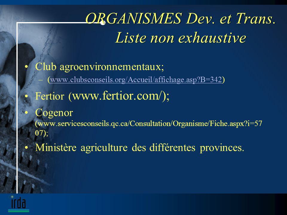 ORGANISMES Dev. et Trans.