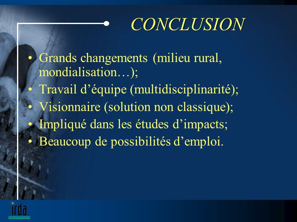 CONCLUSION Grands changements (milieu rural, mondialisation…); Travail déquipe (multidisciplinarité); Visionnaire (solution non classique); Impliqué dans les études dimpacts; Beaucoup de possibilités demploi.