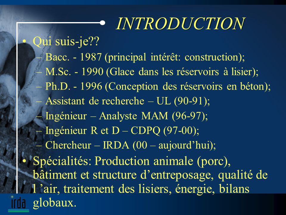 INTRODUCTION Qui suis-je?. –Bacc. - 1987 (principal intérêt: construction); –M.Sc.