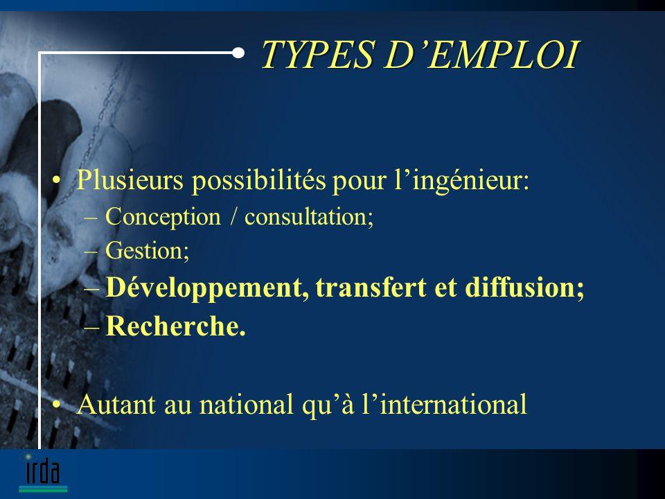 TYPES DEMPLOI Plusieurs possibilités pour lingénieur: –Conception / consultation; –Gestion; –Développement, transfert et diffusion; –Recherche.