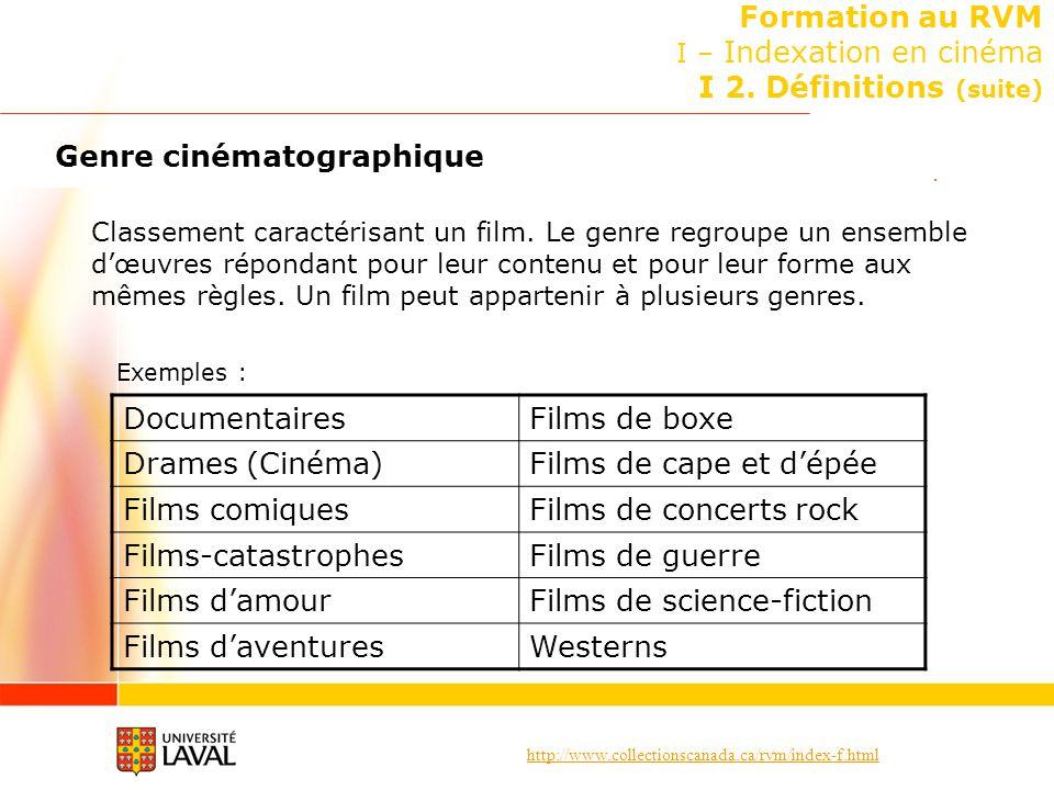 http://www.collectionscanada.ca/rvm/index-f.html Formation au RVM I – Indexation en cinéma I 2. Définitions (suite) Genre cinématographique Classement