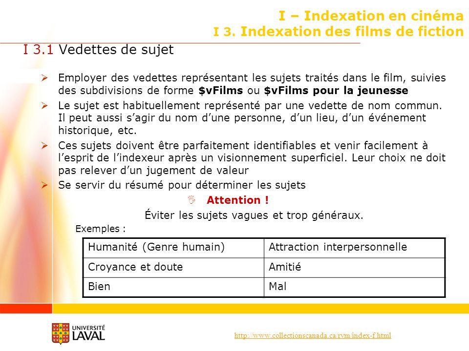 http://www.collectionscanada.ca/rvm/index-f.html I – Indexation en cinéma I 3. Indexation des films de fiction I 3.1 Vedettes de sujet Employer des ve