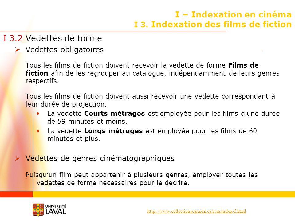 http://www.collectionscanada.ca/rvm/index-f.html I – Indexation en cinéma I 3. Indexation des films de fiction I 3.2 Vedettes de forme Vedettes obliga