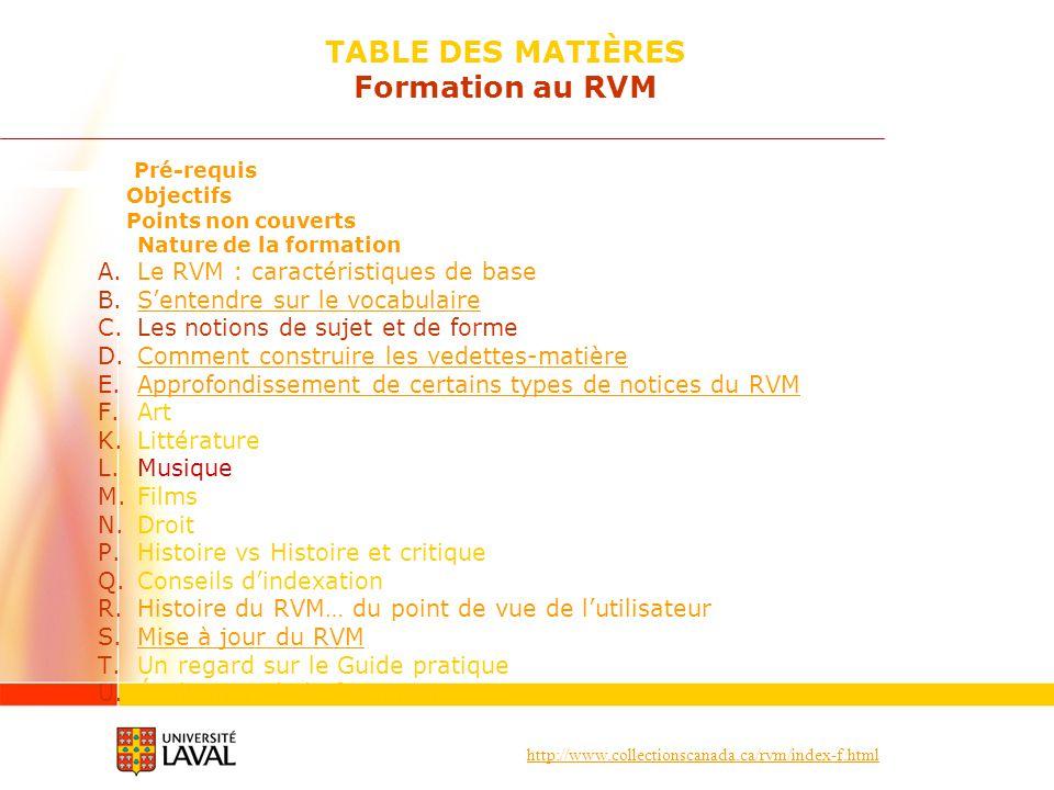 http://www.collectionscanada.ca/rvm/index-f.html Pré-requis Objectifs Points non couverts Nature de la formation A.Le RVM : caractéristiques de base B