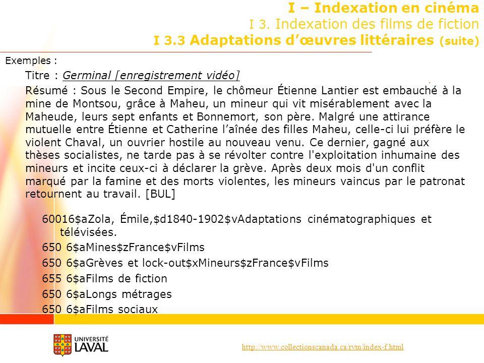 http://www.collectionscanada.ca/rvm/index-f.html I – Indexation en cinéma I 3. Indexation des films de fiction I 3.3 Adaptations dœuvres littéraires (