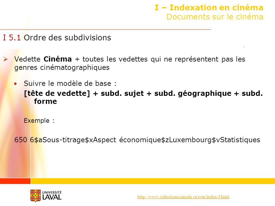 http://www.collectionscanada.ca/rvm/index-f.html I – Indexation en cinéma Documents sur le cinéma I 5.1 Ordre des subdivisions Vedette Cinéma + toutes
