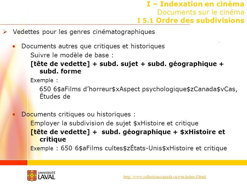 http://www.collectionscanada.ca/rvm/index-f.html I – Indexation en cinéma Documents sur le cinéma I 5.1 Ordre des subdivisions Vedettes pour les genre