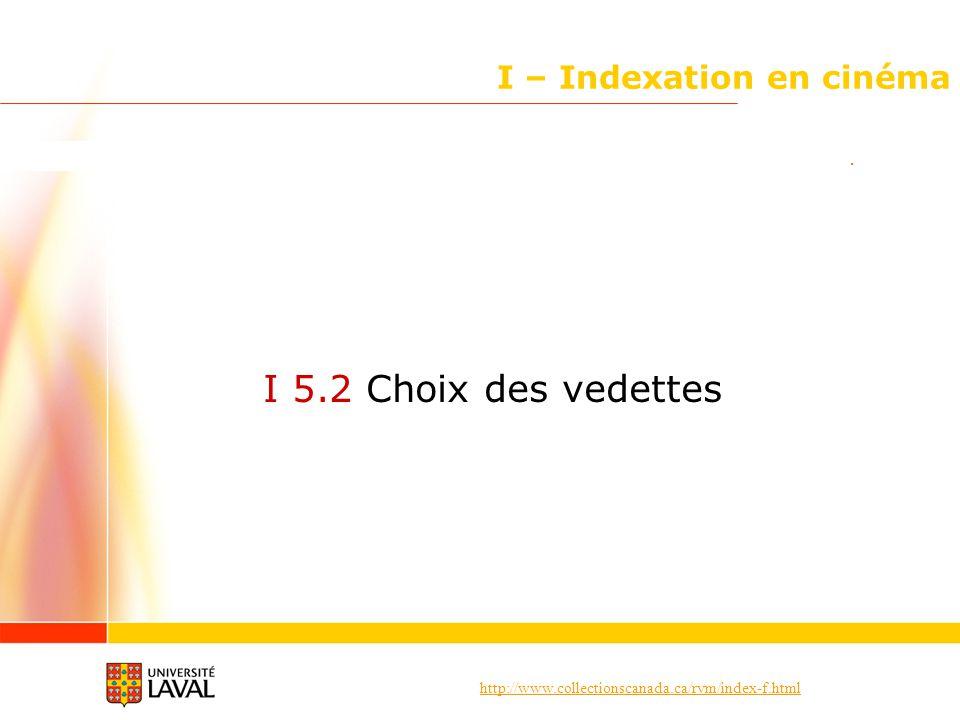 http://www.collectionscanada.ca/rvm/index-f.html I – Indexation en cinéma I 5.2 Choix des vedettes