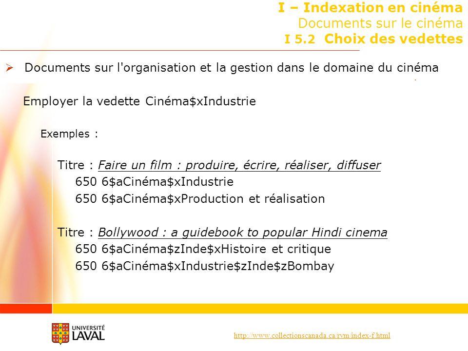 http://www.collectionscanada.ca/rvm/index-f.html I – Indexation en cinéma Documents sur le cinéma I 5.2 Choix des vedettes Documents sur l'organisatio