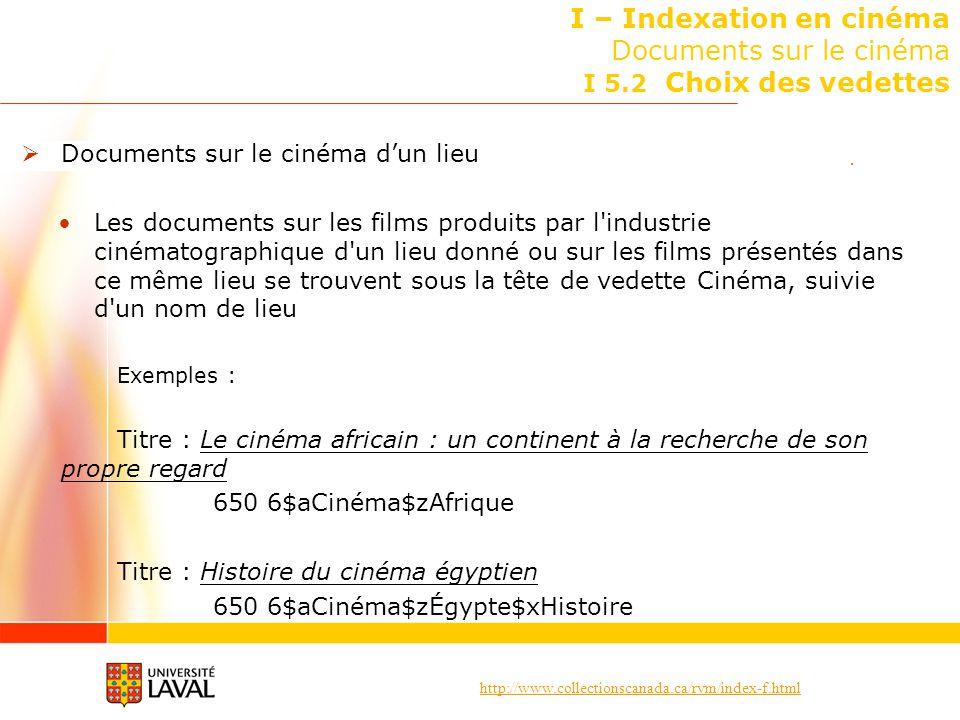 http://www.collectionscanada.ca/rvm/index-f.html I – Indexation en cinéma Documents sur le cinéma I 5.2 Choix des vedettes Documents sur le cinéma dun