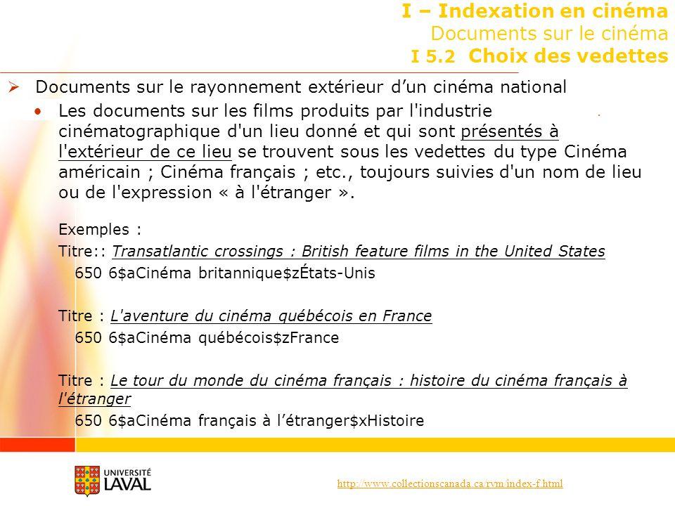 http://www.collectionscanada.ca/rvm/index-f.html I – Indexation en cinéma Documents sur le cinéma I 5.2 Choix des vedettes Documents sur le rayonnemen