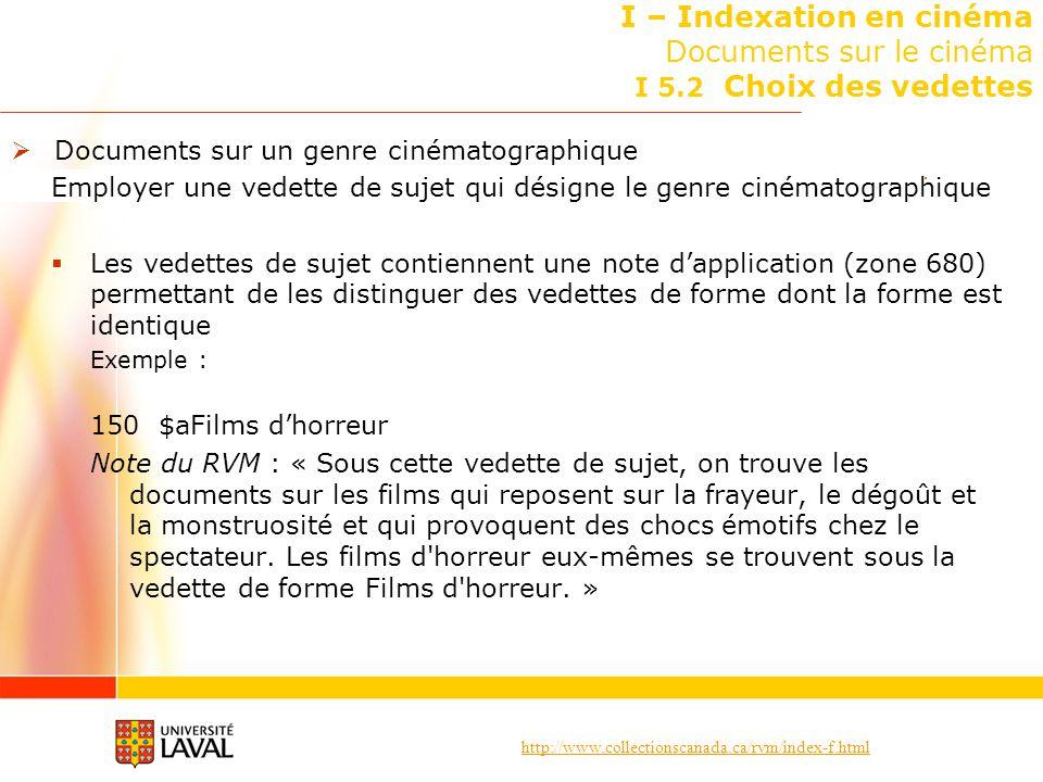http://www.collectionscanada.ca/rvm/index-f.html I – Indexation en cinéma Documents sur le cinéma I 5.2 Choix des vedettes Documents sur un genre ciné