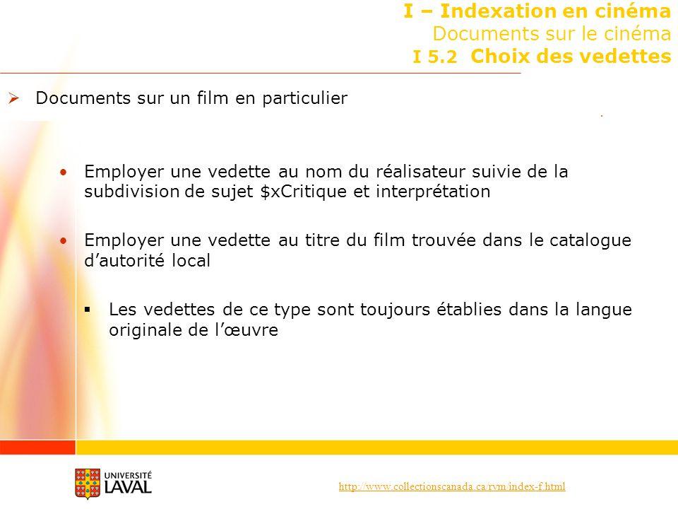 http://www.collectionscanada.ca/rvm/index-f.html I – Indexation en cinéma Documents sur le cinéma I 5.2 Choix des vedettes Documents sur un film en pa