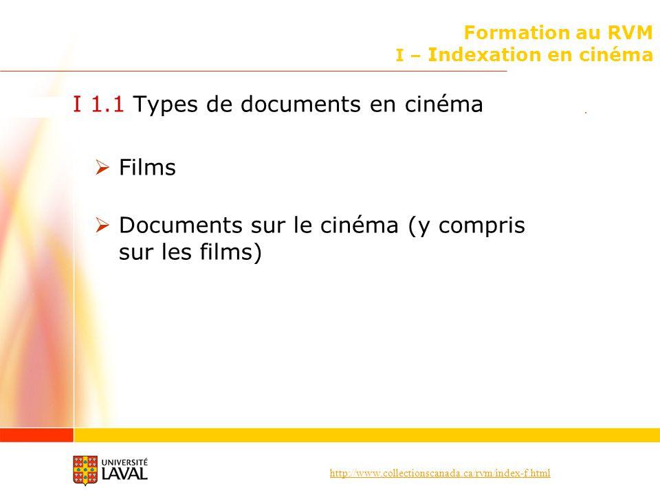 http://www.collectionscanada.ca/rvm/index-f.html Formation au RVM I – Indexation en cinéma I 1.1 Types de documents en cinéma Films Documents sur le c