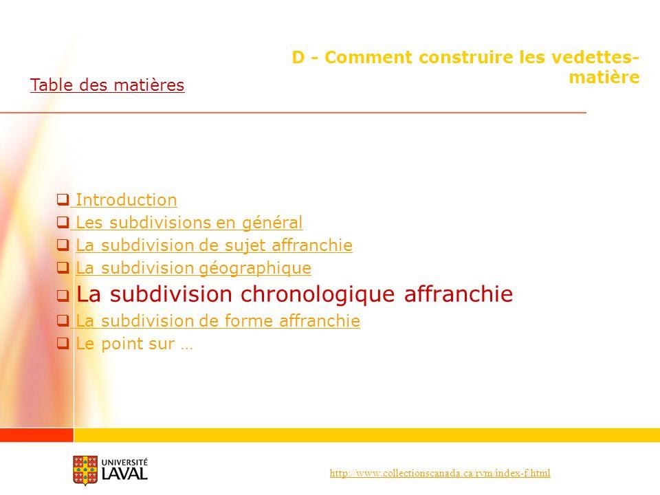 http://www.collectionscanada.ca/rvm/index-f.html D - Comment construire les vedettes- matière Introduction Les subdivisions en général La subdivision