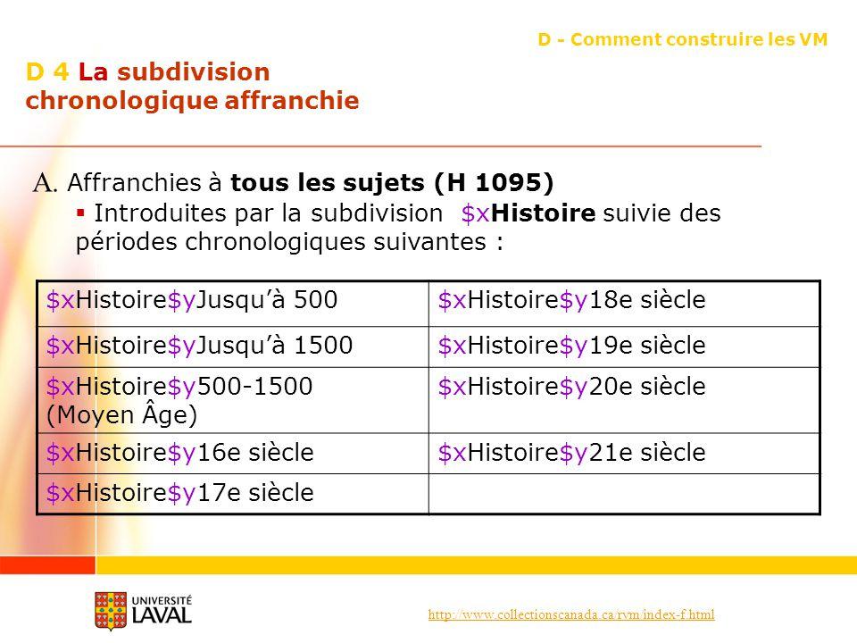 http://www.collectionscanada.ca/rvm/index-f.html D 4 La subdivision chronologique affranchie D - Comment construire les VM A. Affranchies à tous les s