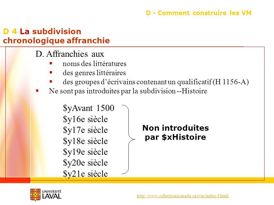 http://www.collectionscanada.ca/rvm/index-f.html D 4 La subdivision chronologique affranchie D - Comment construire les VM D.