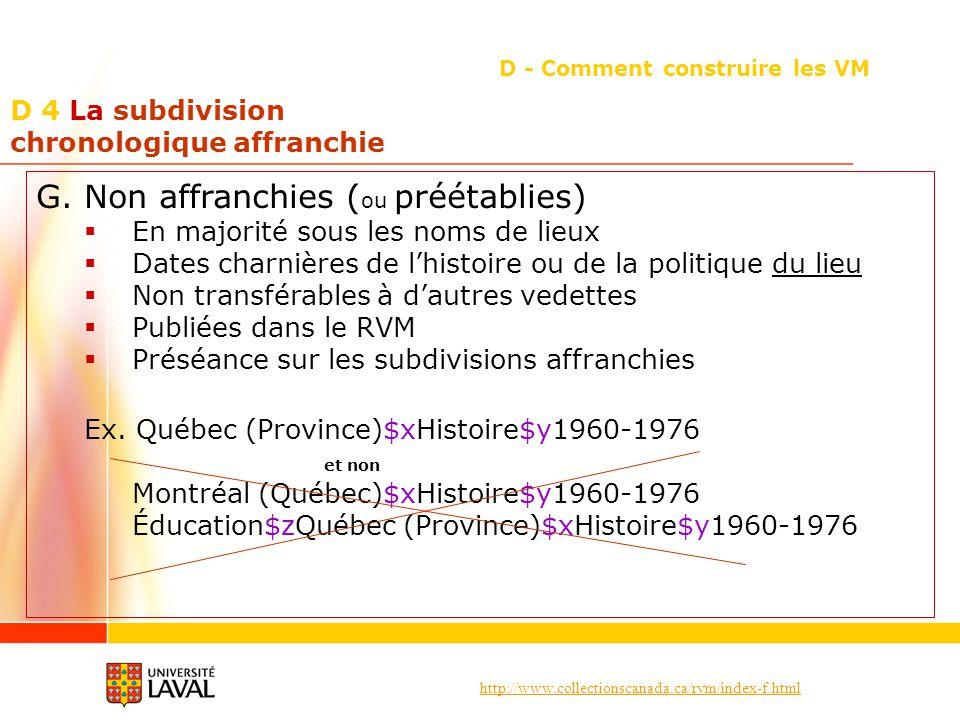 http://www.collectionscanada.ca/rvm/index-f.html D 4 La subdivision chronologique affranchie D - Comment construire les VM G. Non affranchies ( ou pré