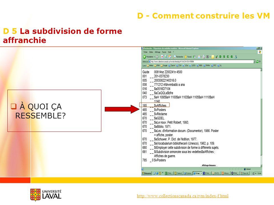 http://www.collectionscanada.ca/rvm/index-f.html D - Comment construire les VM À QUOI ÇA RESSEMBLE? D 5 La subdivision de forme affranchie
