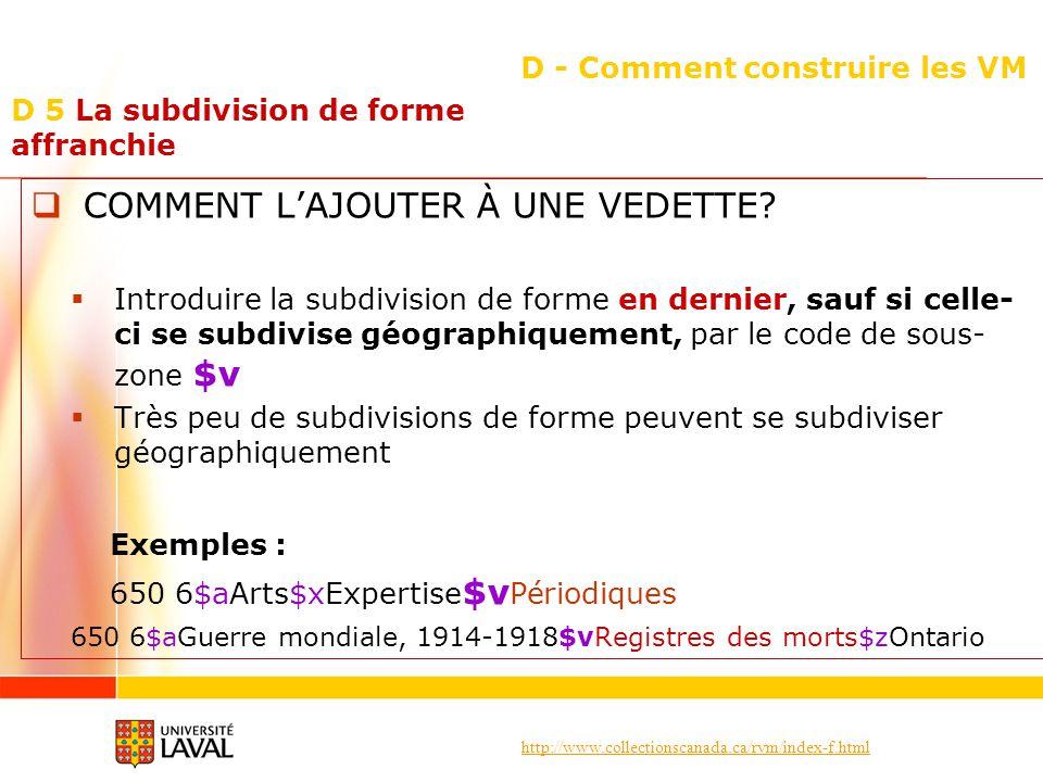 http://www.collectionscanada.ca/rvm/index-f.html D - Comment construire les VM COMMENT LAJOUTER À UNE VEDETTE? Introduire la subdivision de forme en d