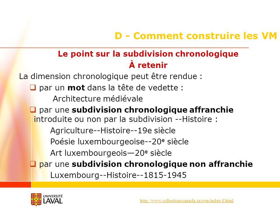 http://www.collectionscanada.ca/rvm/index-f.html D - Comment construire les VM Le point sur la subdivision chronologique À retenir La dimension chrono