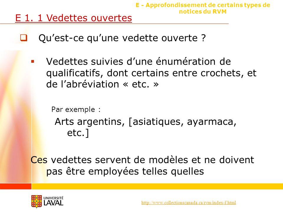 http://www.collectionscanada.ca/rvm/index-f.html E - Approfondissement de certains types de notices du RVM E 1. 1 Vedettes ouvertes Quest-ce quune ved