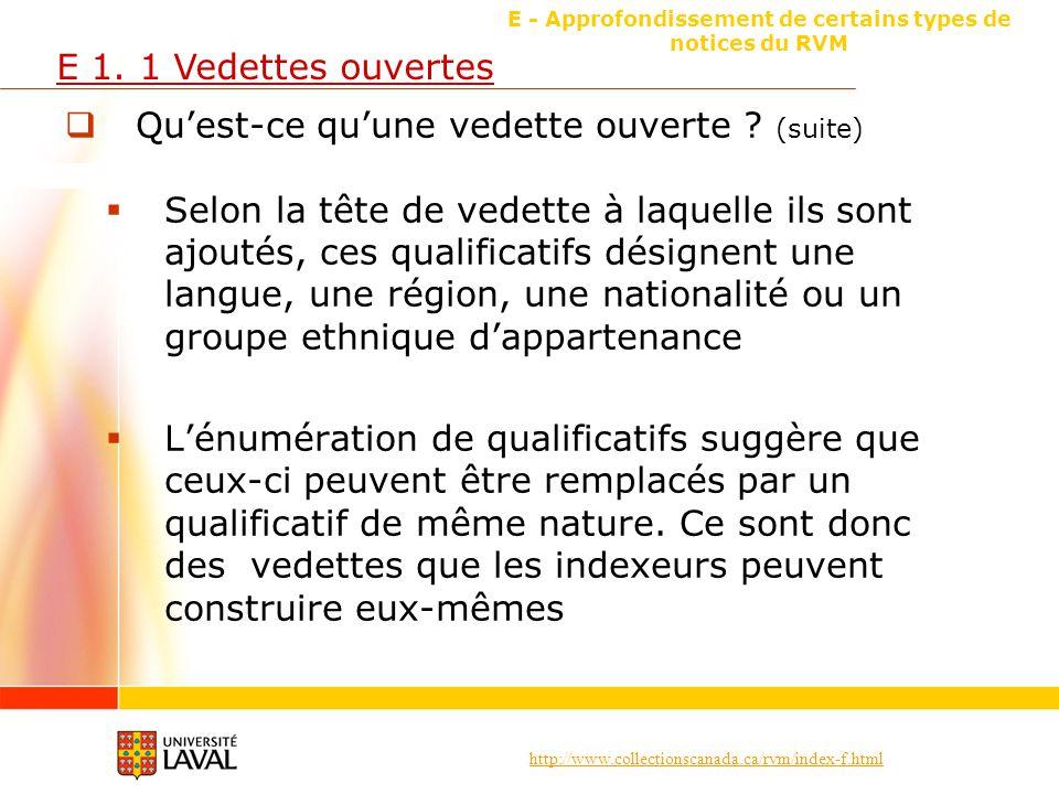 http://www.collectionscanada.ca/rvm/index-f.html E - Approfondissement de certains types de notices du RVM E 1.